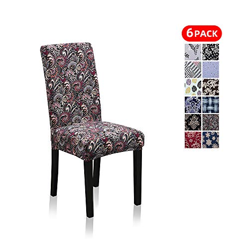 Stretch Jacquard Print Removable Washable Short Dining Chair Covers Seat Slipcover Furniture Protector for Hotel, Dining Room, Kitchen, Banquet Wedding Party (6 Per Set, Dance Phoenix-Tail Pt) (Furniture Phoenix Restaurant)