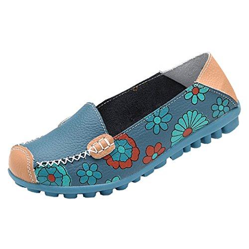 Damesschoenen Leren Casual Bloemenprint Loafer Flats Bootschoenen Blauw