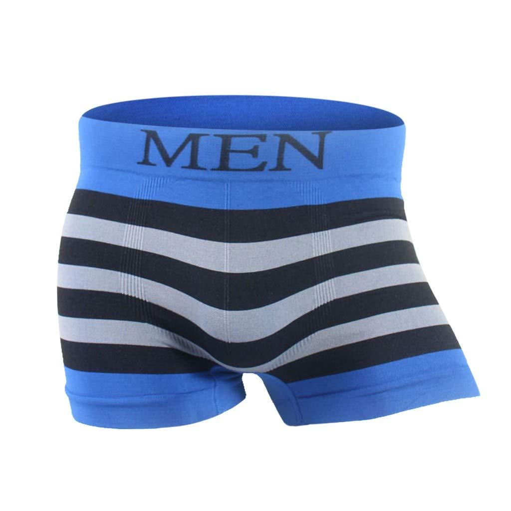 ANJUNIE Men's Underwear,Striped Patchwork Underwear Comfortable Breathable Underwear(10-Blue,XL)