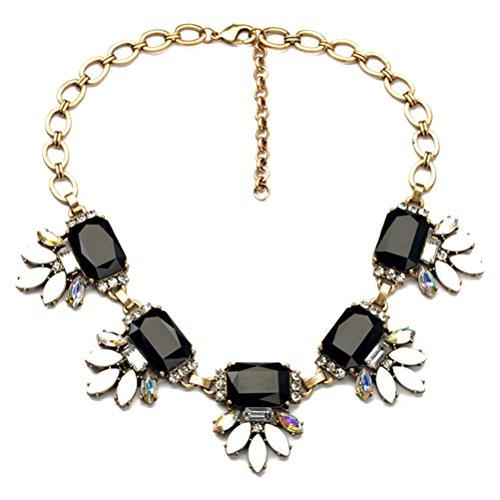 ZLYC Women Lady Fashion Crystal Leaves Rhinestone Statement Bib Necklace, (Crystal Rhinestone Bib Necklace)
