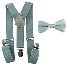 Toddler Baby Boys Girls Clip On Suspenders Bow Tie Set Kid Pre Tied Bowtie (Light Gray)