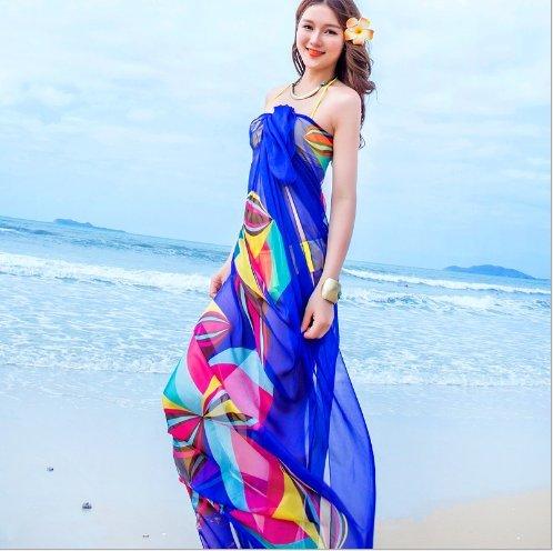 Ladies Beach Chiffon Wrap, gloednApple Sexy Beach Sarong Coverup Swimwear Bikini Scarf Sun Dresses (Blue) (Sarong Dress)