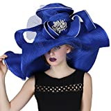June's Young Women Church Hat Large Wave Brim Royal Blue Color Wedding Dress