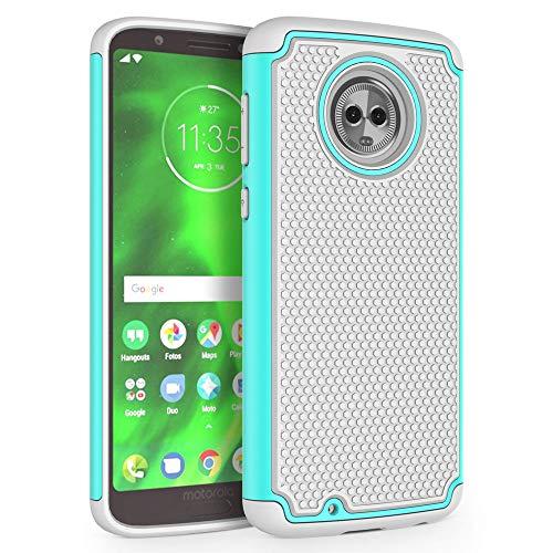 Moto G6 Case, SYONER [Shockproof] Defender Phone Case Cover for Motorola Moto G6 (G 6th Generation) [Turquoise/Gray]