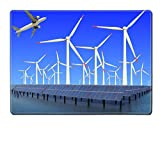 MSD Placemat IMAGE ID 19576484 Aircraft is flying in eco power of wind turbines and solar panel at concept