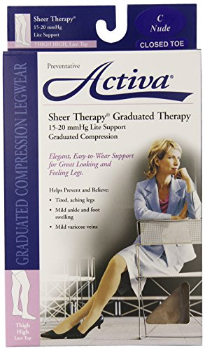Activa Sheer Therapy 15-20 mmHg Thigh High Closed Toe Hosiery with Lace Top, Nude, Size C, (Graduated Therapy)