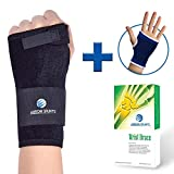 Wrist Brace & Hand Support + Wrist Support Sleeve for Carpal Tunnel, Arthritis, Wrist Pain Relief. Wrist Splint has Removable Stainless Steel Support & 2 Adjustable Fasteners for Custom Fit