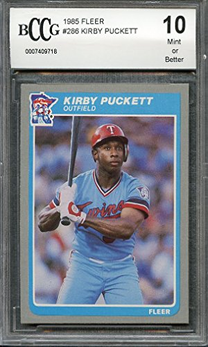1985 fleer #286 KIRBY PUCKETT minnesota twins rookie (CENTERED) BGS BCCG 10 Graded Card (Kirby Puckett Minnesota Twins Baseball)