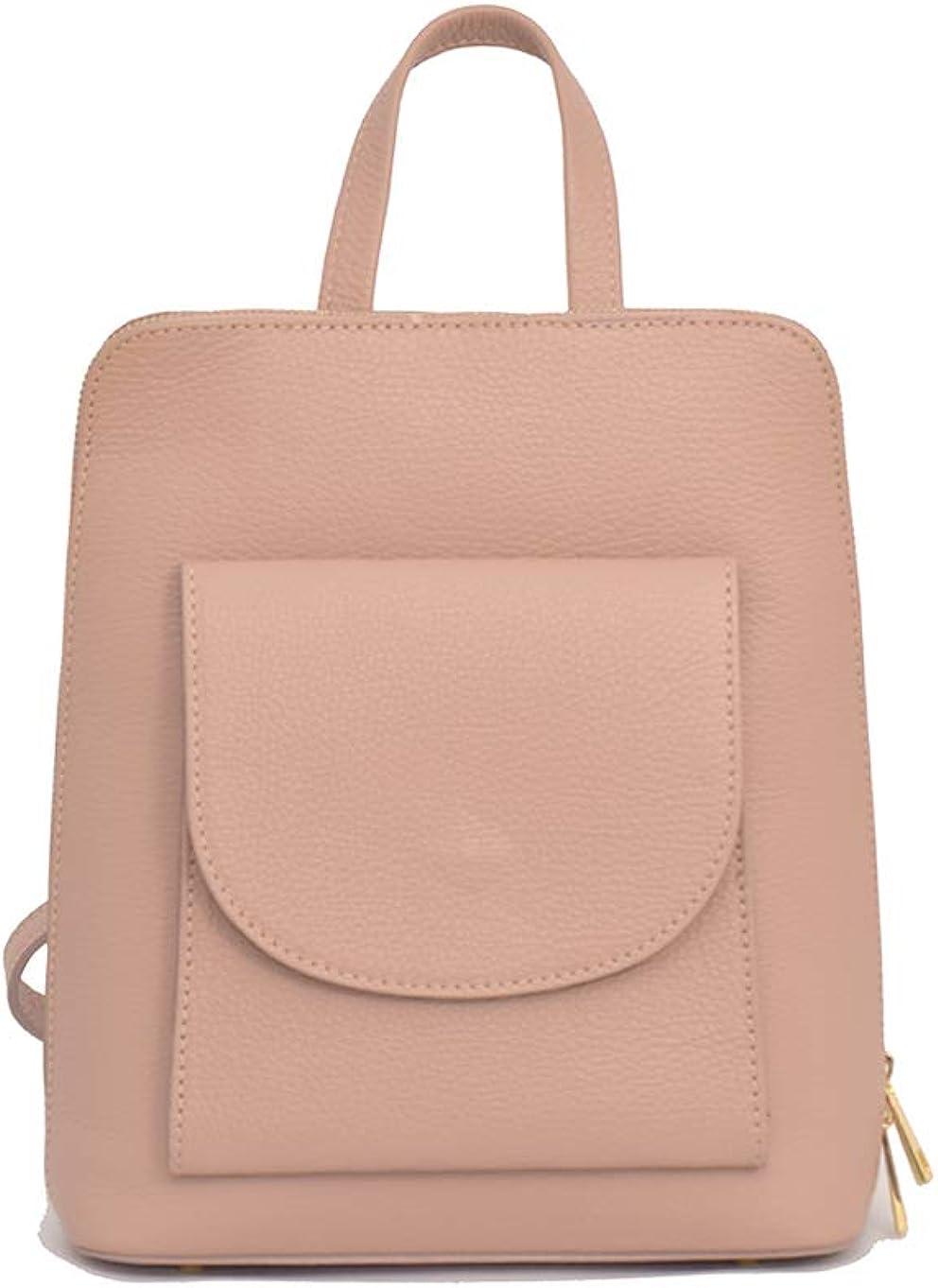 A to Z Leather Mochila 3 en 1 Backpack/Mochila bandolera o mochila cruzada. Auténtico cuero italiano. Rosa