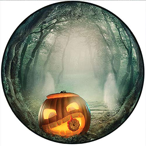(Short Plush Carpet mat Halloween Big Scary Halloween Pumpkin in Enchanted Forest Mystic Twilight Party Themed Orange Teal Cloakroom Cafe 51.1