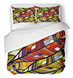 Emvency Bedsure Duvet Cover Set Closure Printed Decorative Abstract Tribal with Leaves Africa African America Curlicue Ethnic Ethno Fancy Breathable Bedding Set With 2 Pillow Shams Twin Size