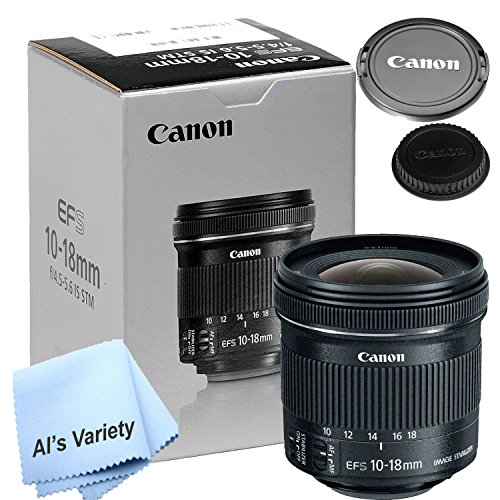 Canon 10-18mm f/4.5-5.6 IS STM Lens (New Retail Box) - W/ Free Microfiber Cleaning Cloth (Best Canon Lenses For Crop Sensor)