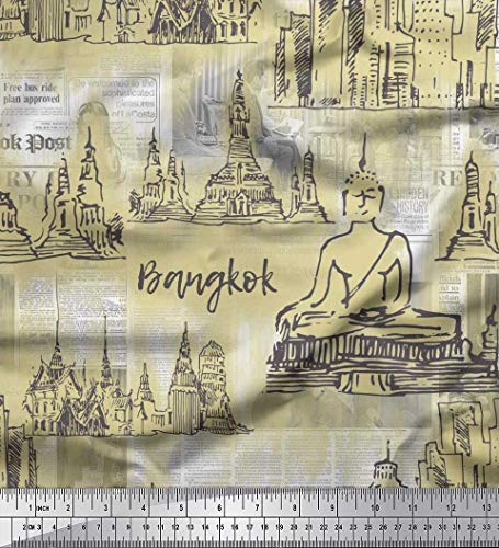 Soimoi Beige Cotton Jersey Fabric Monuments of Bangkok & Buddha Statue Architectural Printed Craft Fabric by The Yard 58 Inch Wide (Buddha Yard The Fabric Cotton By)