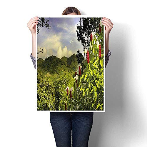 (Canvas Prints Wall Art,Scenery Costa Rica Countryside Greenery Tropic Accents Botanical Green Red Violet Blue Oil Painting,Colorful Paintings for Bathroom Home Decorations,20