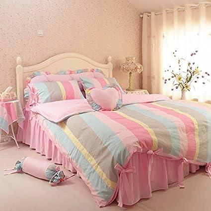 Beautiful MeMoreCool Home Textile Rustic Princess Ruffle Bedding Set Rainbow Stripe Girly  Bedding Set Students Warm Cotton