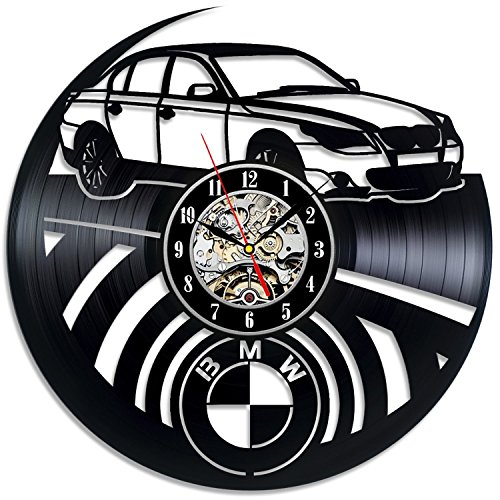 (BMW Logo Vinyl Record Wall Clock - Decorate your home with Modern Art - Gift for men and women, girls and boys - Win a prize for a feedback)