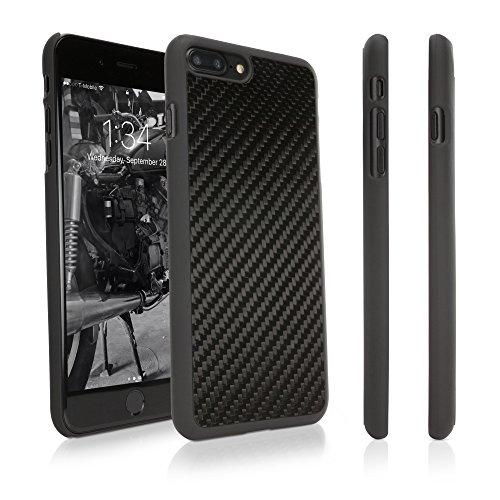 Apple iPhone 8 Plus Case, BoxWave [True Carbon Fiber Minimus Case] Ultra-Strong, Hard Shell Cover for Apple iPhone 8 Plus, 7 Plus - Jet Black
