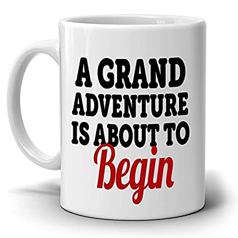 Retirement Gifts Mug for Retired Men and Women Retirees A Grand Adventure is About To Begin Coffee Cup, Printed on Both - Breakfast Gift Bucket