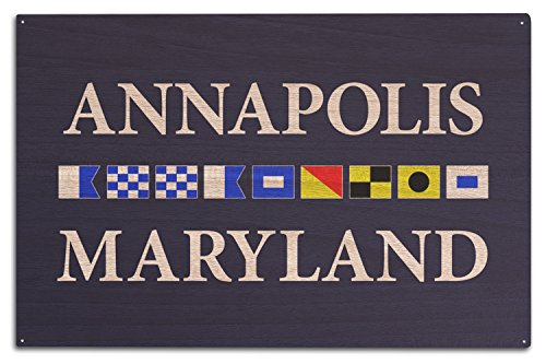 Lantern Press Annapolis, Maryland - Nautical Flags (10x15 Wood Wall Sign, Wall Decor Ready to Hang)