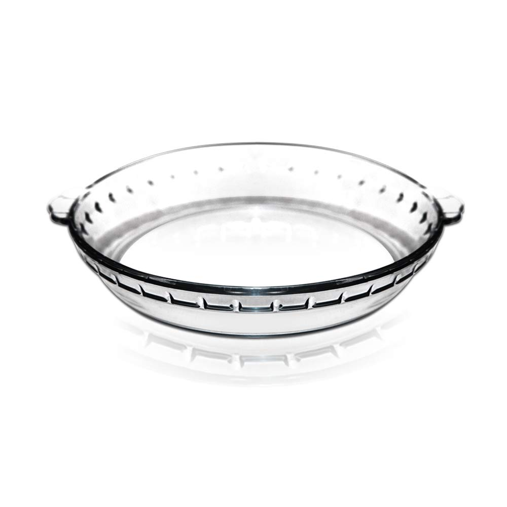 8 Inch Oven Basics Glass Deep Pie Plate Clear Glass Baking Pan Bakeware Baking Dish Round Glass Roaster Great for Casseroles, Cakes and Cobblers