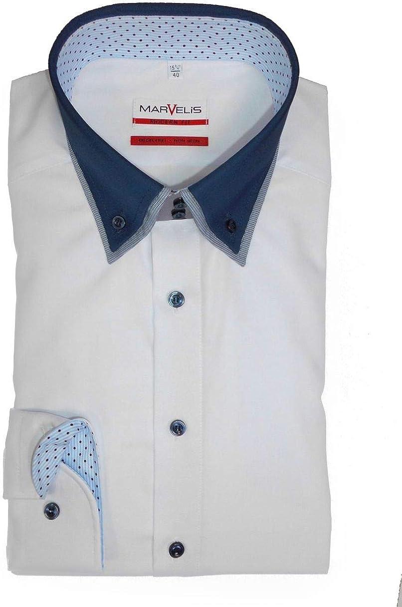 Marvelis - Camisa formal - Ajustada - Básico - con botones - Manga Larga - para hombre Weiß(00) 43 : Amazon.es: Ropa y accesorios