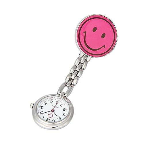 Reloj Tipo Enfermera Cuarzo Esfera Redondo Corazón Risa Color Rosa: Amazon.es: Relojes
