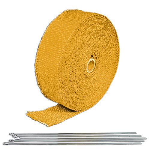 Yellow Turbo Manifold Heat Exhaust Thermal Wrap Tape & Stainless Ties 2X50' for Can-Am Commander 1000, Model: , Outdoor&Repair Store (Sickspeed Thermal Wrap compare prices)