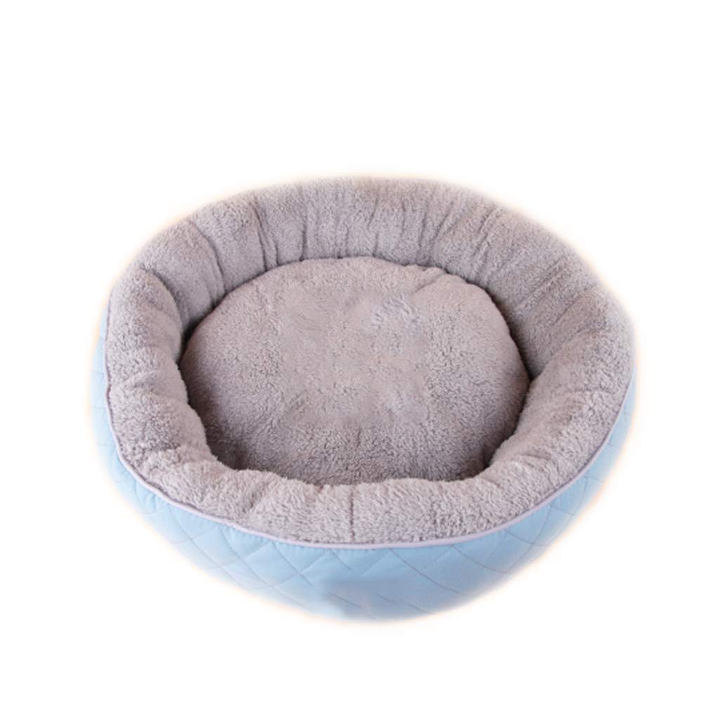Lake bluee HeiPlaine Pet Sofa Pet Bed Round Pet Nest Four Seasons General Small And Medium Cashmere Kennel Villa Warm Mat (color   Lake bluee)