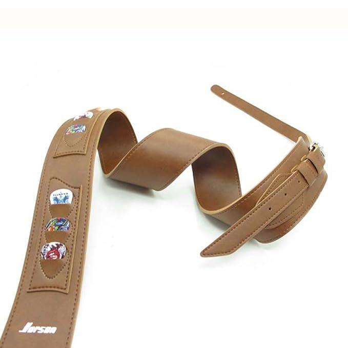 Nuevo tipo marrón correa para guitarra y puede ser cargado palas, fabricado de alta calidad correa de piel longitud de 135 - 155 cm: Amazon.es: Instrumentos ...