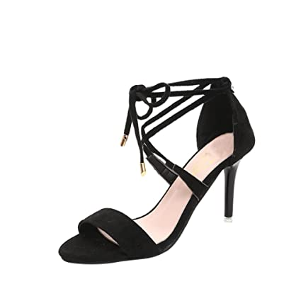 0dcf21b7cb WuyiM® Womens Slandals Summer Ladies Shoes Cross Straps Sandals Ankle Mid  Heel Block Party Open