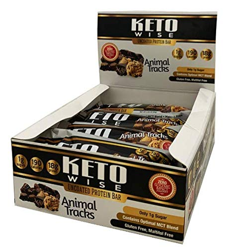 Keto Wise | Uncoated Protein Bar | Animal Tracks High Protein, Low Carb, Low Fat, Low Sugar, Box of 12 by Keto Wise