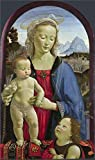 high quality polyster Canvas ,the Imitations Art DecorativeCanvas Prints of oil painting 'David Ghirlandaio - The Virgin and Child with Saint John,about 1490-1500', 18x30 inch / 46x77 cm is best for Game Room artwork and Home decor and Gifts