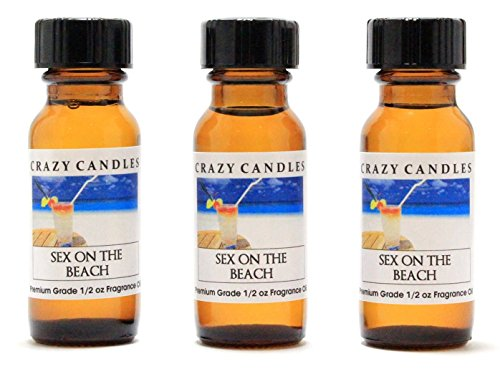 Sex on the Beach 3 Bottles 1/2 Fl Oz Each (15ml) Premium Grade Scented Fragrance Oil By Crazy Candles (Orange Juice, Cranberry Juice, Peach Schnapps Aroma) ()