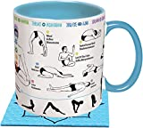 How To: Yoga Coffee Mug - Learn Yoga Poses While You Drink Your Coffee - Includes a Yoga Mat Coaster and Comes in a Fun Gift Box