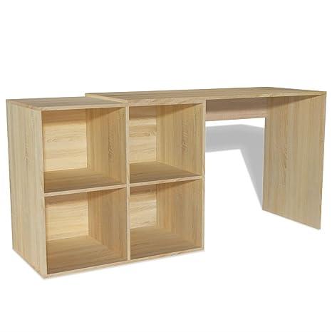 SENLUOWX scrivania con libreria 117 x 92 x 75.5 cm Rovere: Amazon.it ...