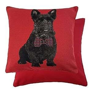 Relleno Navidad Terrier Escocés Rojo Negro con pajarita Tejido Cojín Tapiz 18 cm