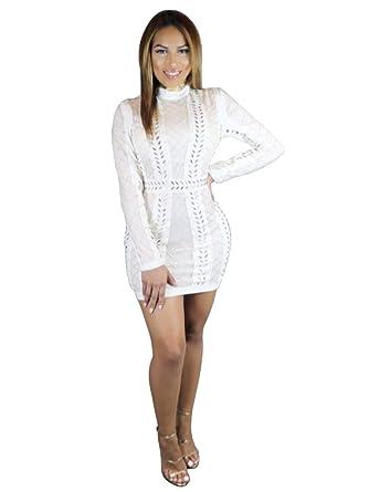 bc75db2505c S Curve Women s Luxury Quality Round Neck Long Sleeve Crystal Beaded  Diamond Embellished Bandage Dress X