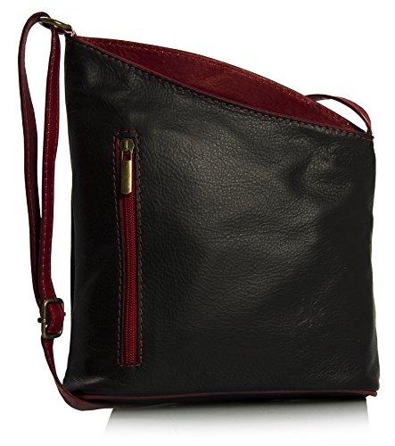 Red bandoulière véritable souple Cuir Handbag Petite Trim Black Venenzi italien Shop Big à Sac w7vqZw