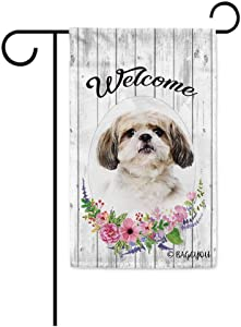 BAGEYOU Welcome Spring Summer Flowers Cute Dog Shih Tzu Decorative Garden Flag Lovely Puppy Floral Seasonal Home Decor Banner for Ourside 12.5 X 18 Inch Print Double Sided