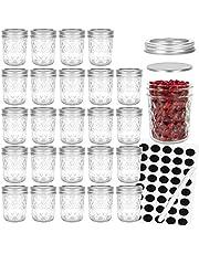 Mason Jars 6 OZ, Glass Jar ,Canning Jars Jelly Jars With Detachable Lids, Ideal for Overnight oats,Jam, Honey, Yogurt,Wedding Favors, Baby Foods,Spice set of 24