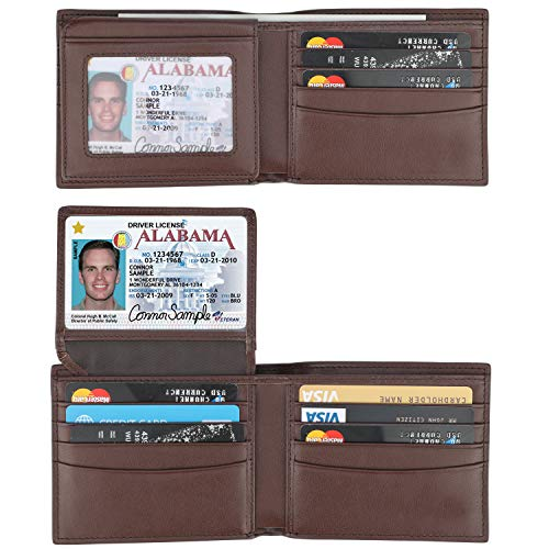 RFID Blocking Cowhide Leather Bifold Wallet for Men with 2 ID Windows(Chocolate- Carbon Fiber Leather)