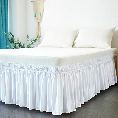 Cozylife Three Fabric Sides Wrap Around Elastic Solid Bed Skirt, Easy On/Easy Off Dust Ruffled Bed Skirts 16 Inch Tailored Drop (White, King)