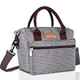 BALORAY Lunch Bag for Women Insulated Lunch Box with Adjustable Shoulder Strap,Water-Resistant Leakproof Cooler Lunch Tote Bag for Work/School/Picnic(Black&White Strip)