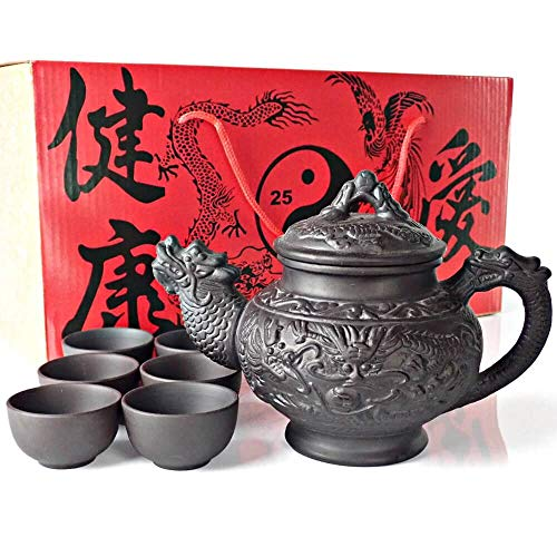 25DOL Sipping Tea Set 8 Pieces made with Premium Quality Chinese Yixing Purple Clay - Teapot