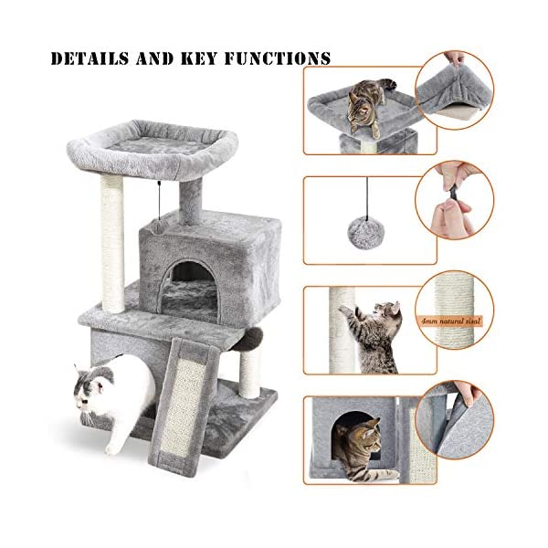 PAWZ Road Cat Tree Luxury Cat Tower with Double Condos, Spacious Perch, Fully Wrapped Scratching Sisal Posts and Replaceable Dangling Balls 2