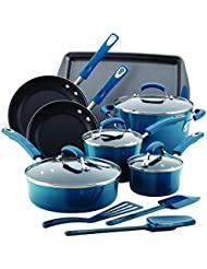 Rachel Ray Pots And Pans Cookware Set Covered Non Stick Kitchen Cooking 14 PC