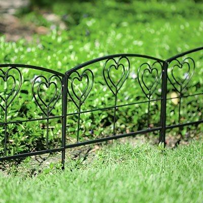 Panacea Heart Garden Border Fence, Black, 14u0026quot;H, ...