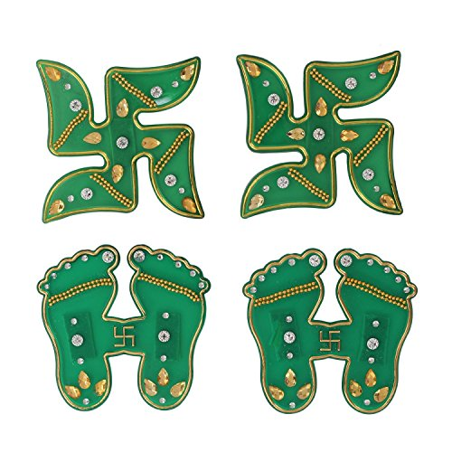 [Decorations Subh Labh Door Wall Stickers Swastik (Auspicious Hindu Symbols)with Laksmi Charan(Pagla) with Stone Studded Home Festive Decor] (Auspicious Stone)