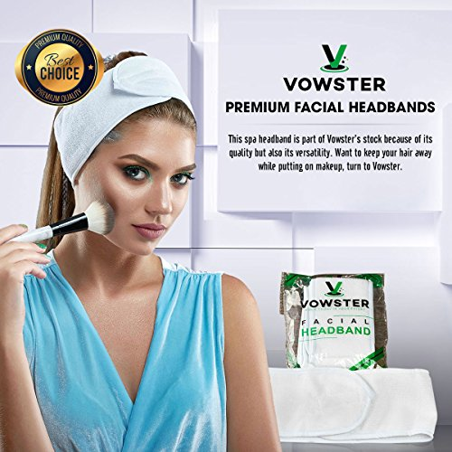 Premium Facial Headbands With Velcro by Vowster. Non-Slip Stretchable, Elasticized White Spa Wrap Headband Keeps Massage Oils, Tanning Creams And Makeup From Hair. Hairband,3-Pack,Washable, Fits All.