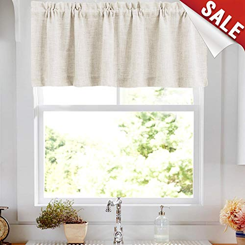 Linen Valance 15 inches Long Rod Pocket Kitchen Crude Beeige Window Treatments Living Room 1 Panel